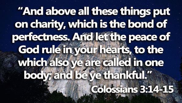 And above all these things put on charity, which is the bond of perfectness. And let the peace of God rule in your hearts, to the which also ye are called in one body; and be ye thankful.