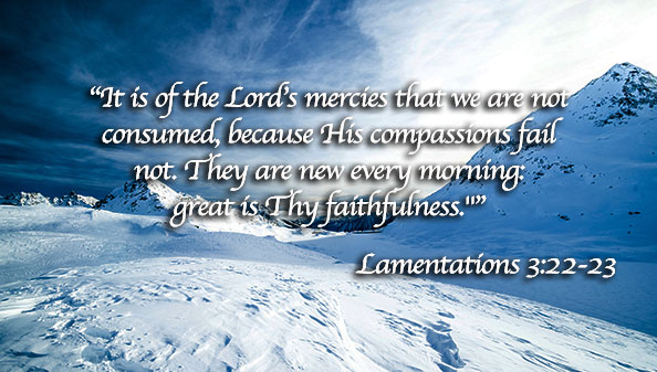 It is of the Lord's mercies that we are not consumed, because His compassions fail not. They are new every morning: great is Thy faithfulness.