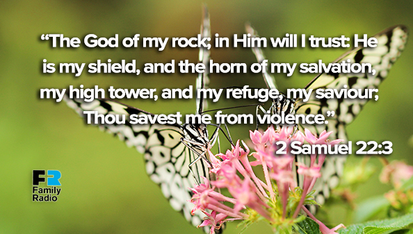 The God of my rock; in Him will I trust: He is my shield, and the horn of my salvation, my high tower, and my refuge, my saviour; Thou savest me from violence.