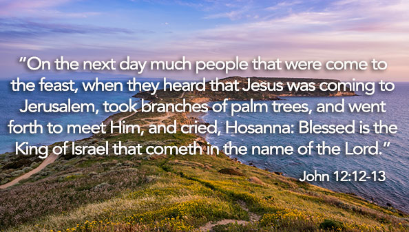 On the next day much people that were come to the feast, when they heard that Jesus was coming to Jerusalem, took branches of palm trees, and went forth to meet Him, and cried, Hosanna: Blessed is the King of Israel that cometh in the name of the Lord.