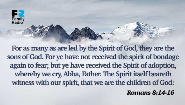 For as many as are led by the Spirit of God, they are the sons of God. For ye have not received the spirit of bondage again to fear; but ye have received the Spirit of adoption, whereby we cry, Abba, Father. The Spirit itself beareth witness with our spirit, that we are the children of God.