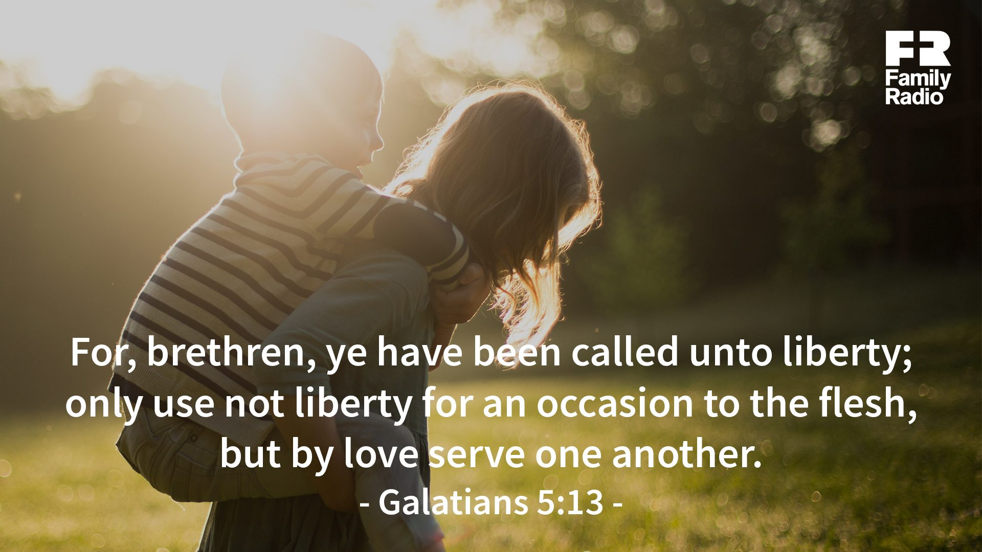 """For, brethren, ye have been called unto liberty; only use not liberty for an occasion to the flesh, but by love serve one another."""