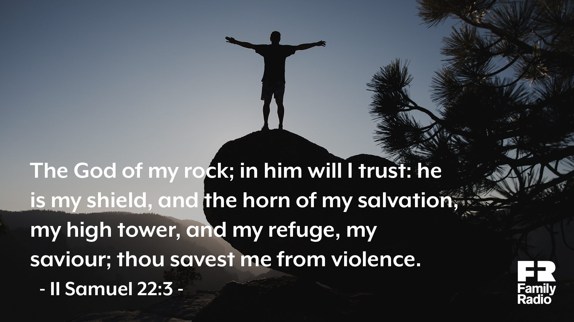 """The God of my rock; in him will I trust: he is my shield, and the horn of my salvation, my high tower, and my refuge, my savior; thou savest me from violence."""