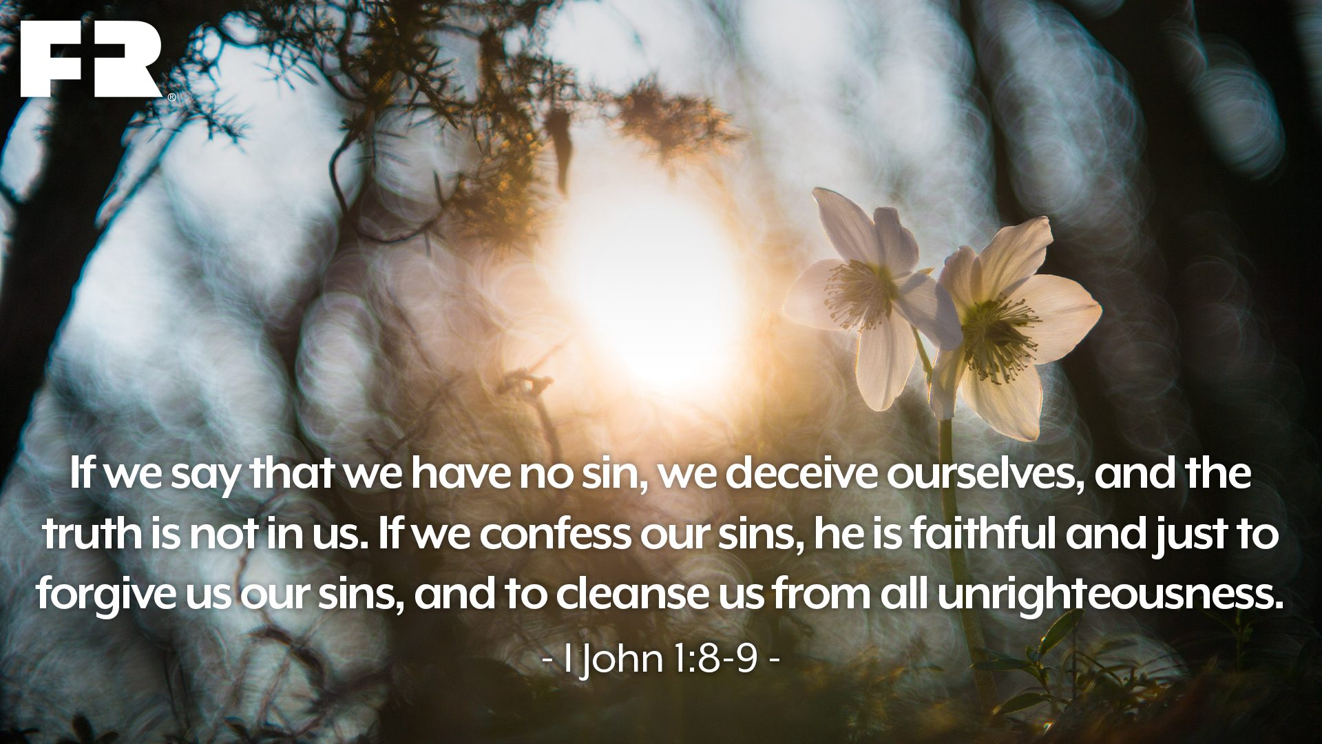 """If we say that we have no sin, we deceive ourselves, and the truth is not in us. If we confess our sins, he is faithful and just to forgive us our sins, and to cleanse us from all unrighteousness."""