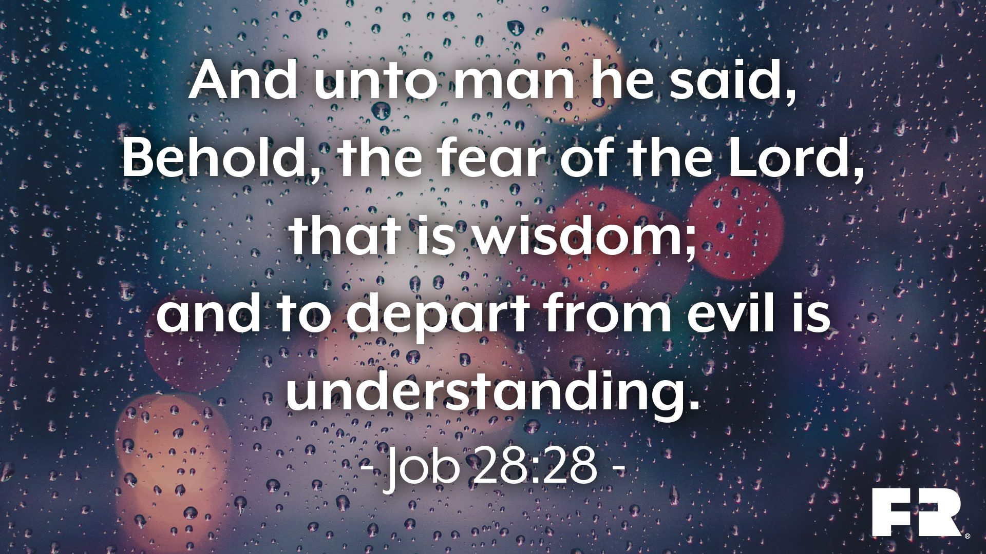"""And unto man he said, Behold, the fear of the Lord, that is wisdom; and to depart from evil is understanding."""