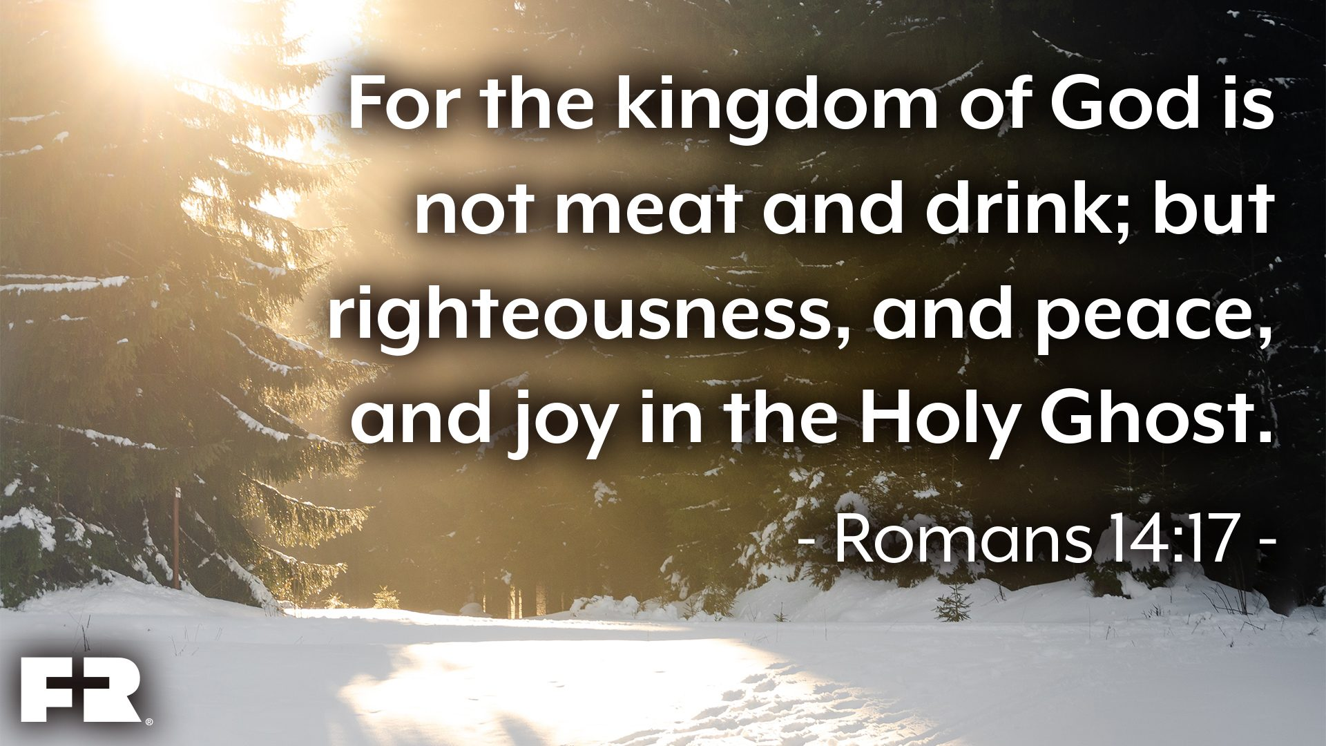"<em>""For the kingdom of God is not meat and drink; but righteousness, and peace, and joy in the Holy Ghost.""</em>"